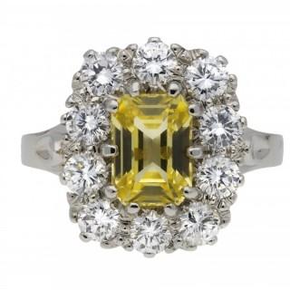 Yellow Ceylon sapphire and diamond coronet cluster ring, circa 1950.