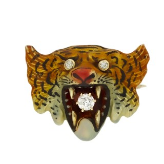 Victorian diamond and enamel tiger brooch, American, circa 1900.