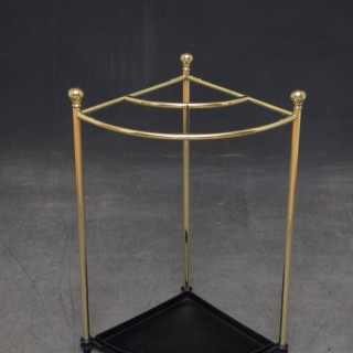 Edwardian Corner Umbrella Stand in Brass