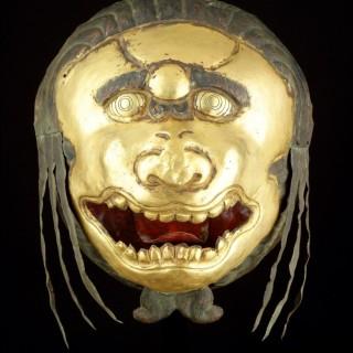 Tibetan Gilt Copper Repoussé Mask Head of a Ferocious Snow Lion