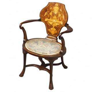 George III Style Inlaid Mahogany Side Chair
