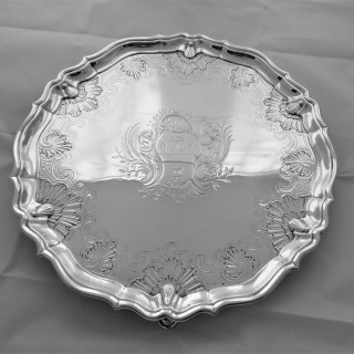 Fine armorial George II silver salver London 1737 George Hindmarsh
