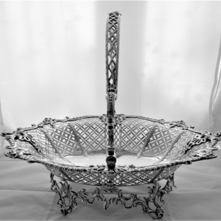 Magnificent large & heavy early George III silver cast & pierced basket London 1765 William Plummer 50.30 ounces.