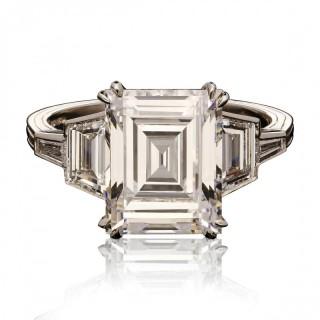 4.09ct F VS1 Rare Vintage Carre Cut Diamond  Platinum Solitaire Ring by Hancocks