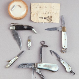 Collection of Eleven Victorian Miniature Steel Folding Pocket Knives and a Pair of Miniature Steel Scissors