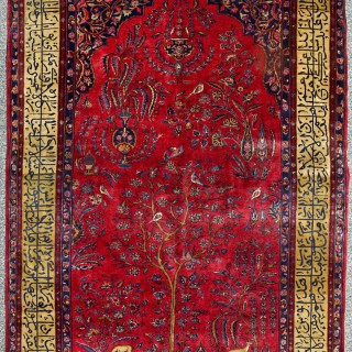 Important manchester wool kashan with calligraphy Rug