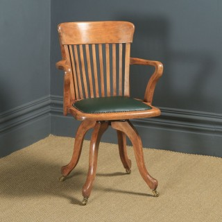 Antique English Victorian Beech & Green Leather Revolving Office Desk Arm Chair (Circa 1890)