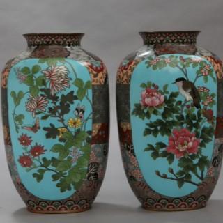 Pair of Japanese 19th century Meiji Period cloisonné enamel vases