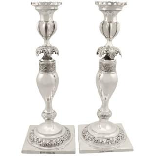 Russian Silver Shabbat Candlesticks - Antique Circa 1860