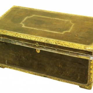 19th Century Leather Military Campaign Trunk