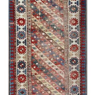 Antique Caucasian Red Stripe Wool Rug 90 x 323 cm