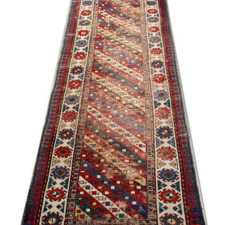 Antique Caucasian Red Stripe Wool Rug 90 x 323 cm