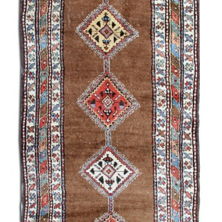 Antique Kurdish Beige Wool Runner Rug 92x388cm