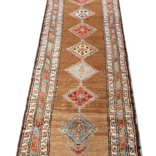 Antique Kurdish Beige Wool Runner Rug 92x388cm