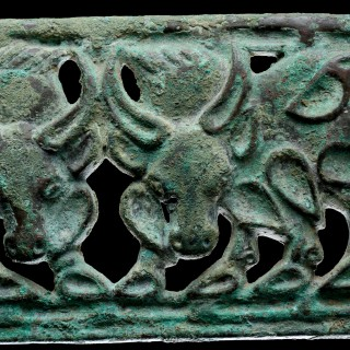 Ancient South Siberian or North West Chinese Cast Openwork Bronze Belt Plaque