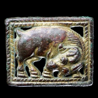 A Pair of Ancient North West Chinese Gilded Bronze Open Work Mirroring Belt Plaques