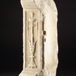 Ancient Roman White Marble Altar Fragment Carved with a Depiction of an Ornate Bronze 'Thymiaterion'