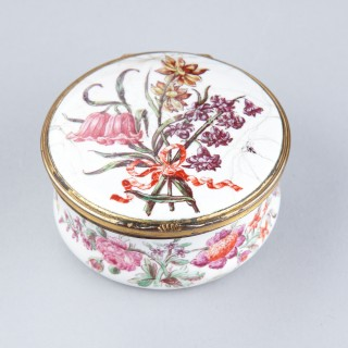 English South Staffordshire Enamel Box Painted with Floral Bouquets in the Style of Sèvres Porcelain