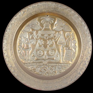 Large Curious Southern Nigeria Cross River Old Calabar Kingdom Efik Decorated Brass Charger Dish