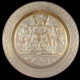 Large Curious Southern Nigeria Cross River Old Calabar Kingdom Efik Decorated Brass Charger Dish
