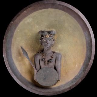 Madagascan Southern Sakalava Peoples Plaque Depicting a Warrior