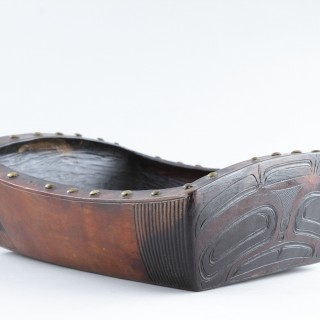 Pacific Northwest Coast Tlingit Peoples Red Cedar-Wood Ceremonial Oil Dish