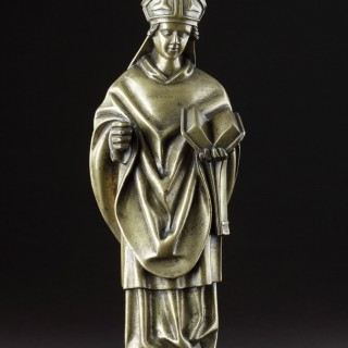Rare Medieval Gothic Tournai Bronze Standing Figure Depicting the Remarkable Dominican Bishop Saint Albertus Magnus 'Albert the Great'