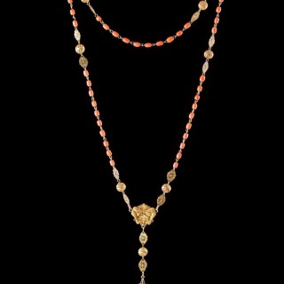Spanish Gold Filigree and Coral Bead Rosary with Pendant Gold Openwork Cross
