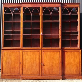 18th Century George III Period Mahogany Breakfront Bookcase