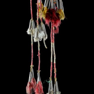 Native American Plains Dakota Eastern Sioux Warriors Dyed Porcupine Quill Feather Hair Rawhide and Tin Cone Hair Ornament