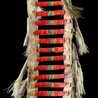 Native American Plains Dakota Eastern Sioux Warriors Dyed Porcupine Quill Buckskin Tin Cone and Horsehair Dance Collar