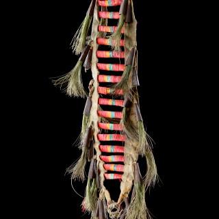 Native American Plains Dakota Eastern Sioux Warriors Dyed Porcupine Quill Buckskin Tin Cone and Horsehair Dance Collar