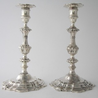 Antique William IV Sterling Silver Cast Candlesticks