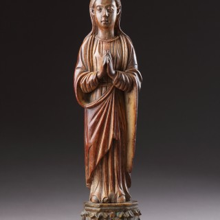 Indo-Portuguese Goa Carved Ivory Devotional Statuette of the Virgin Mary