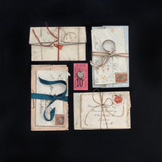 'Tied Letters with Locket'  Still Life painting by contemporary Scottish artist Rachel Ross