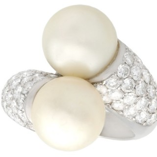 Cultured Pearl and 1.70 ct Diamond, 18 ct White Gold Cocktail Ring - Vintage Circa 1970