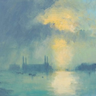 'Battersea Power Station - A Passing Storm at Sundown' contemporary painting by Ian Houston