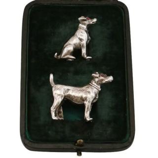 Sterling Silver Menu / Card Holders - Antique George V