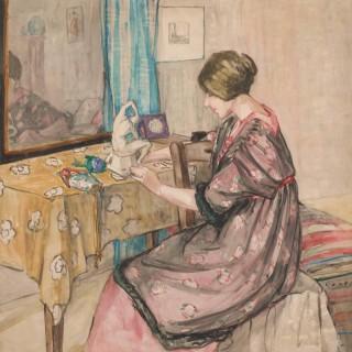 'Sculptor with her plaster Model' by Scottish Artist Jacobina 'Jeka' Kemp (1876–1966 )