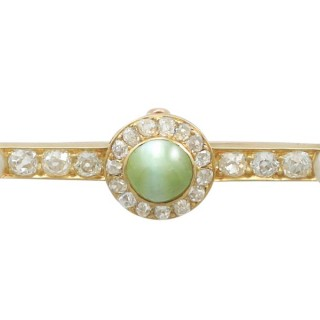 1.55 ct Chrysoberyl and 1.10 ct Diamond, Pearl and 18 ct Yellow Gold Bar Brooch - Antique Victorian