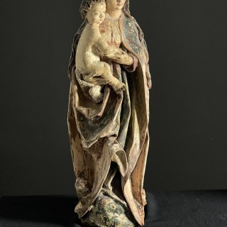 A wonderful very well carved sculpture of Madonna and child