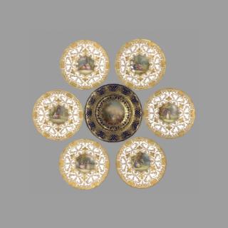 A Fine Royal Doulton Plate Set Signed by Leslie Johnson