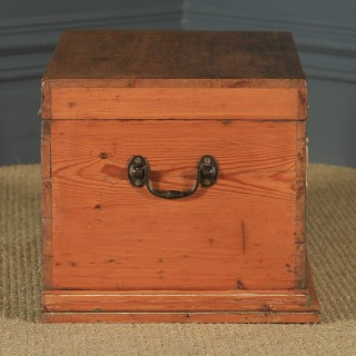 Small Antique English Victorian Pine Trunk Blanket Box / Chest / Coffee Table (Circa 1880)