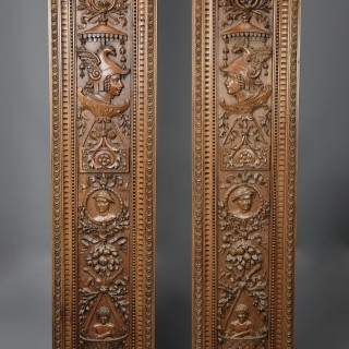 Superb pair of large French late 19th century carved walnut panels within carved frames