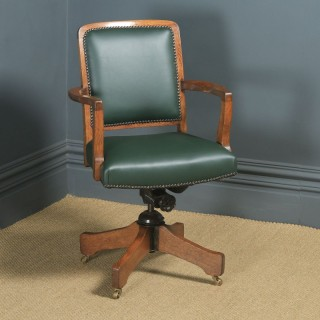 Antique English Edwardian Solid Oak & Green Leather Revolving High Back Office Desk Arm Chair (Circa 1910)