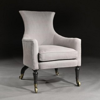 Regency Mahogany Armchair Of Curvaceous Form