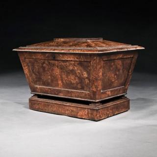 Regency Pollard Oak Sarcophagus Shaped Cellarette