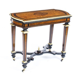 Antique Amboyna & Ebonised Card Table C1850 19th Century