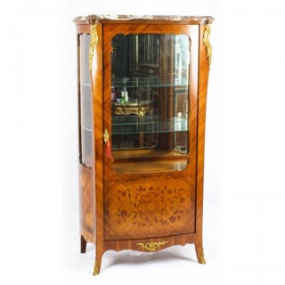 Antique French Kingwood Marquetry Ormolu Mounted Vitrine Cabinet 19th C