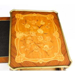 Antique Pair Louis Revival Kingwood Marquetry & Ormolu Side Tables 19th C